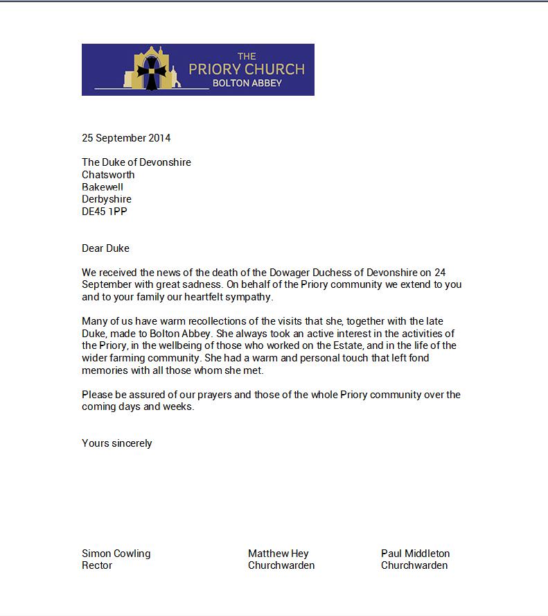 Letter (Dowager Duchess)